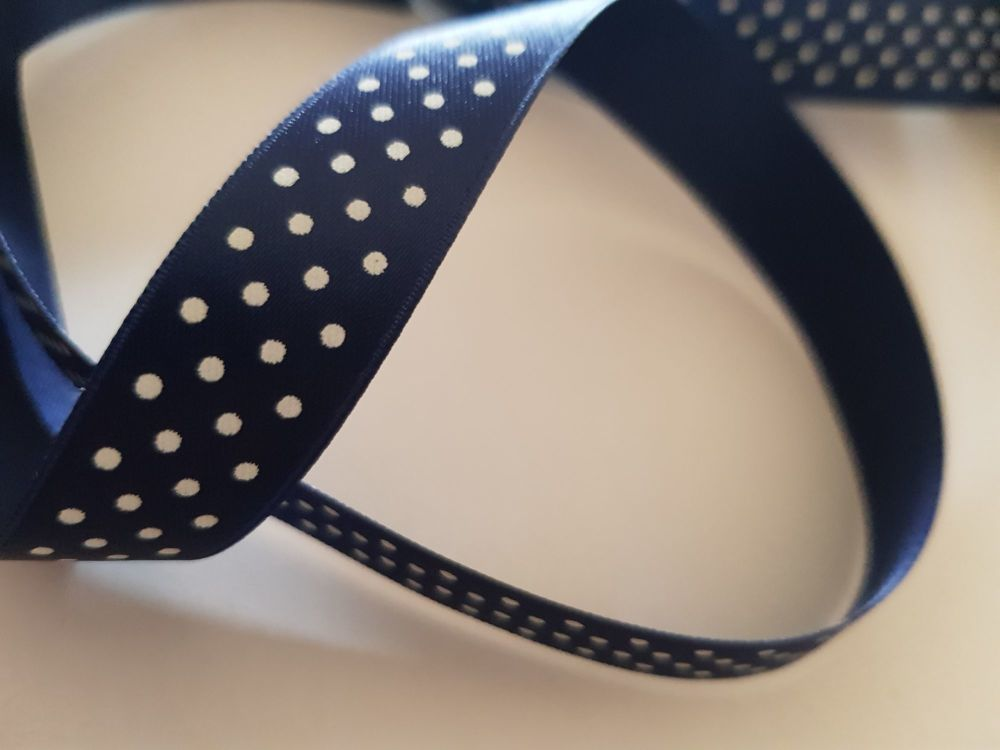 Navy with White Dot Ribbon 16mm (per metre)