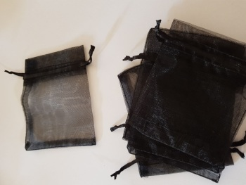 Black Organza Bags 90mmx65mm approx (Pack of 6)