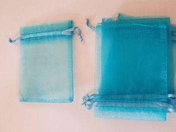Turquoise  Organza Bags 90mmx65mm approx (Pack of 6)