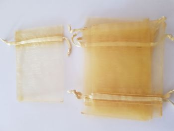 Gold Organza Bags 90mmx65mm approx (Pack of 6)