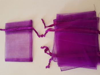 Purple Organza Bags 90mmx65mm approx (Pack of 6)