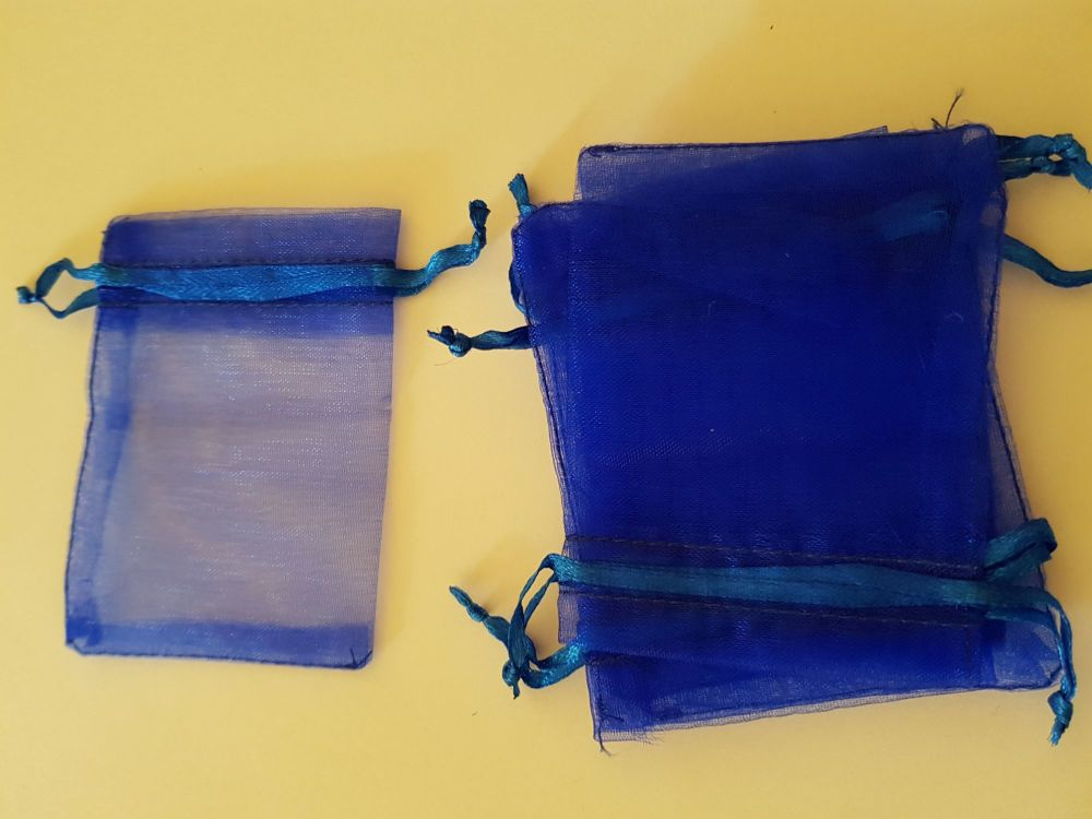Royal Blue Organza Bags 90mmx65mm approx (Pack of 6)
