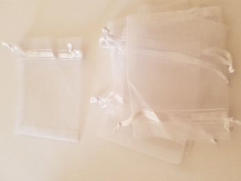 White Organza Bags 100mmx80mm approx (Pack of 6)