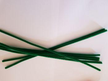 Green Chenille Sticks x12
