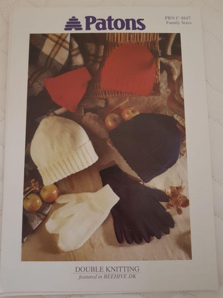Family Knitting Pattern - Hat , Gloves  PBN 4847