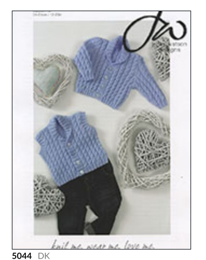 Childrens Knitting Pattern Shawl Collar Cardigan JW5044