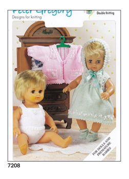 Doll and Premature Baby Knitting Pattern Dress,Cardigan PG7208
