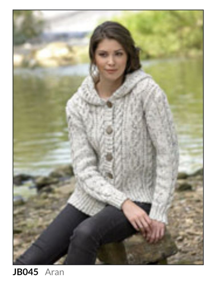 Ladies Knitting Pattern Hooded Cardigan JB045