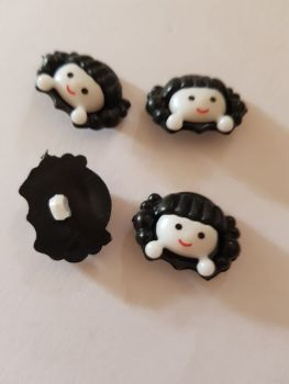 Black Girls Face Button 22x18mm (Pack of 8)