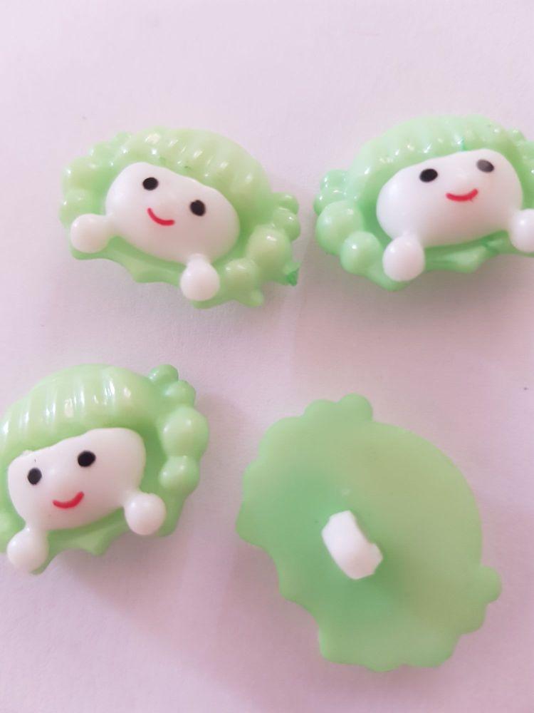 Mint Green  Girls Face Button 22x18mm (Pack of 8)