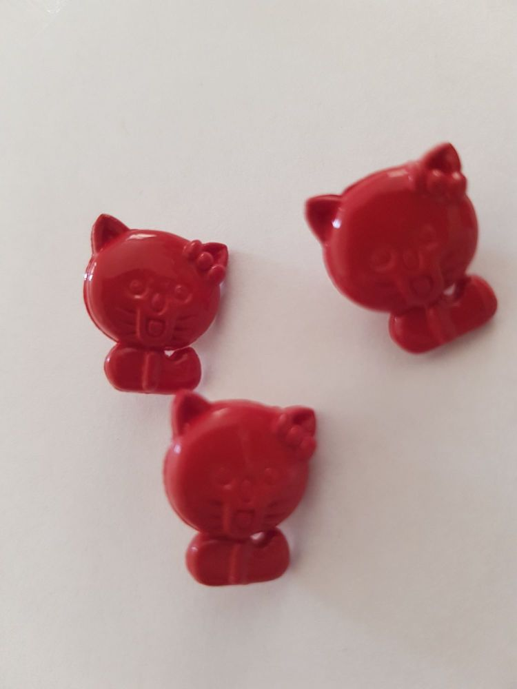 Darker Red Cat Button 15mm (pack of 8)