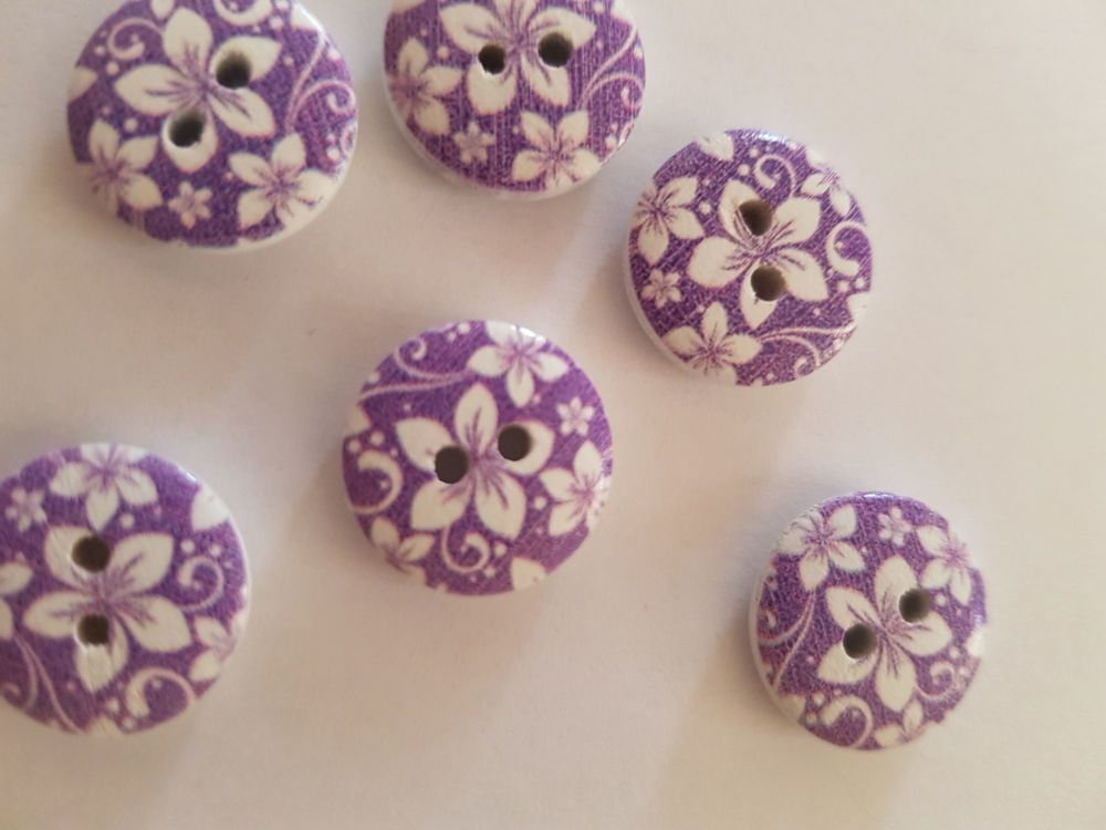 Purple Wooden Flower Button 15mm (Pack of 10)