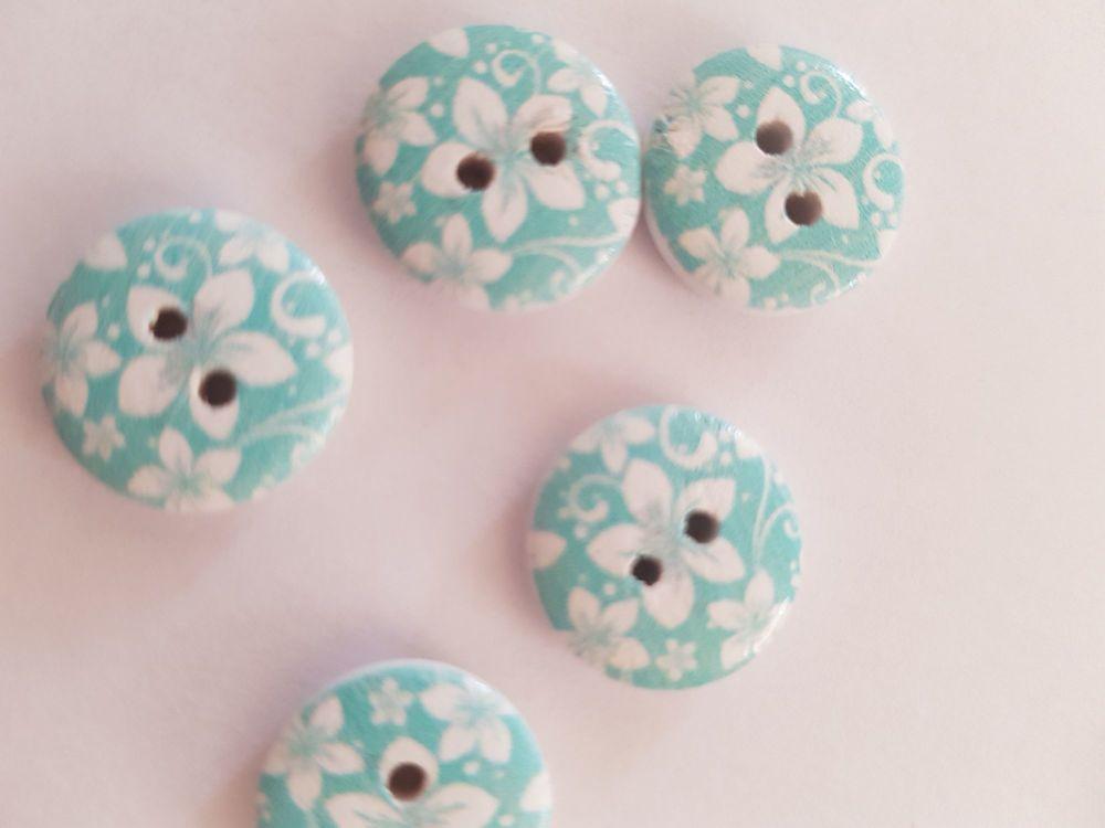 Blue  Wooden Flower Button 15mm (Pack of 10)