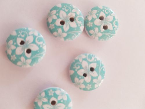 Blue  Wooden Flower Button 15mm (Pack of 10)
