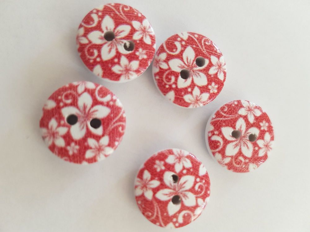 Red Wooden Flower Button 15mm (Pack of 10)