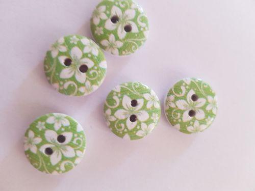 Green Wooden Flower Button 15mm (Pack of 10)