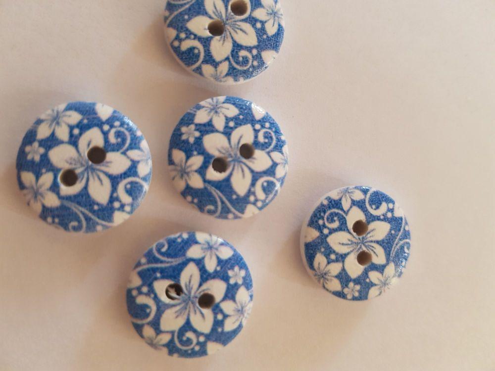 Darker Blue Wooden Flower Button 15mm (Pack of 10)
