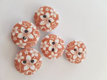 Brown Wooden Flower Button 15mm (Pack of 10)