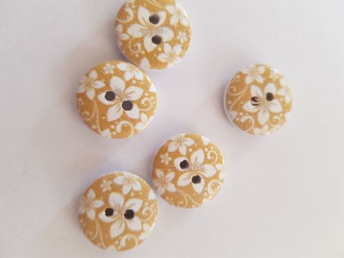 Pale Brown / Mustard Wooden Flower Button 15mm (Pack of 10)
