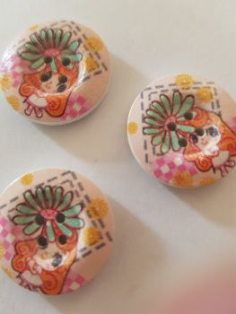 Girl with Flower Wooden Button 23mm ( Pack of 6)