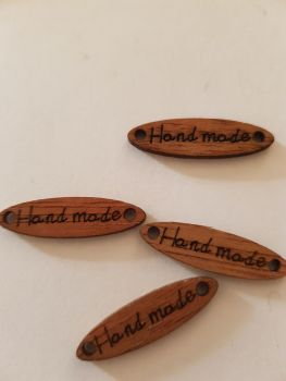 Brown Handmade Button / Tag 28mm ( Pack of 8)