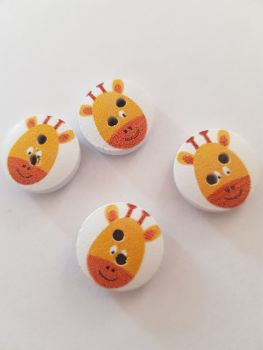 Giraffe Wooden Buttons 15mm ( Pack of 10) orange