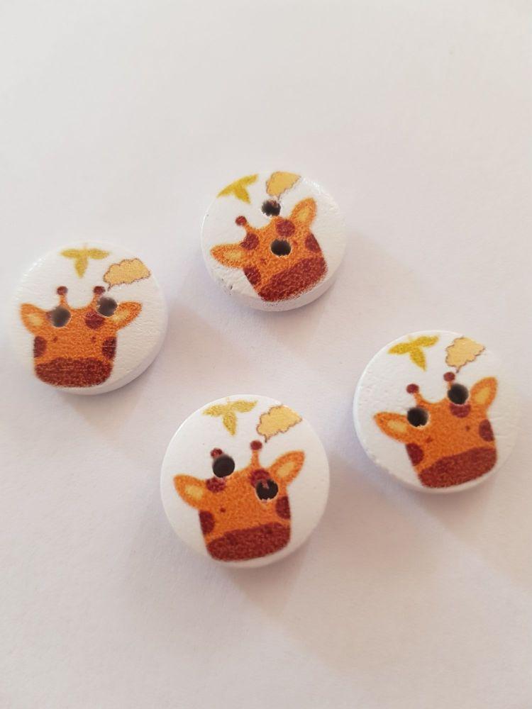 Giraffe Wooden Buttons 15mm ( Pack of 10) Flower