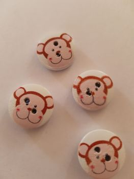 Monkey Wooden Buttons 15mm ( Pack of 10)