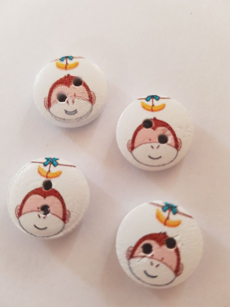 Monkey Wooden Buttons 15mm ( Pack of 10) banana