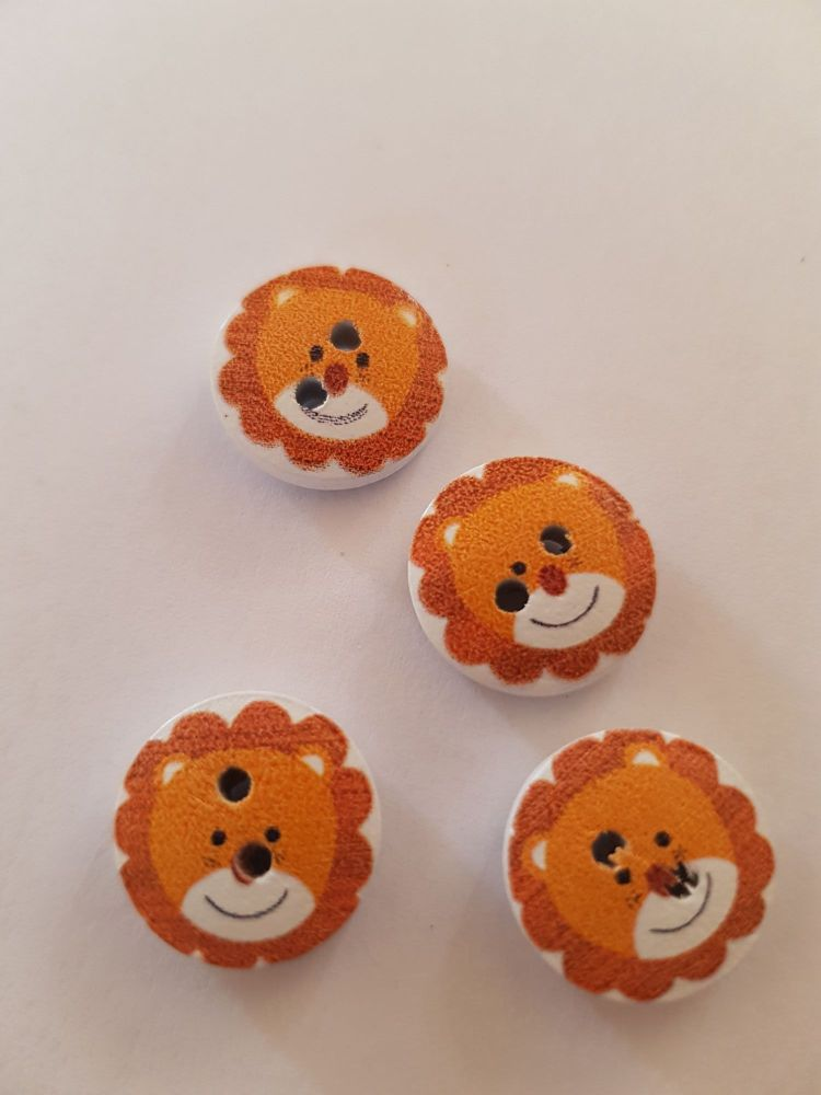 Lion Wooden Buttons 15mm ( Pack of 10) orange