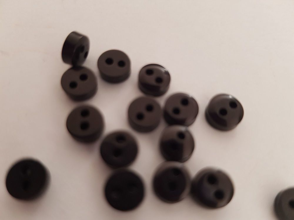 Black Button 6mm (Pack of 15)