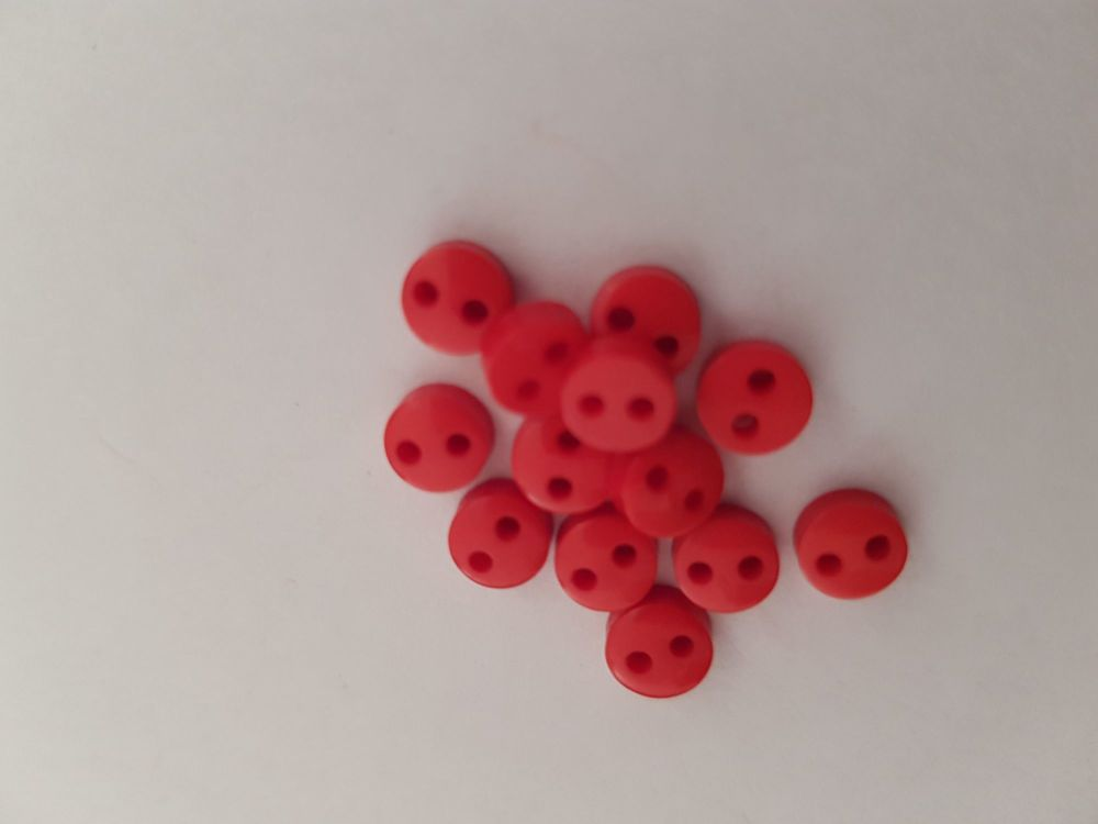 Red Buttons 6mm (Pack of 15)