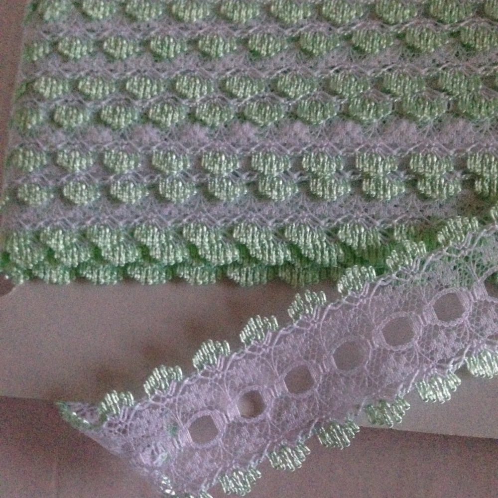 Eyelet Lace - White with Mint - Per Metre