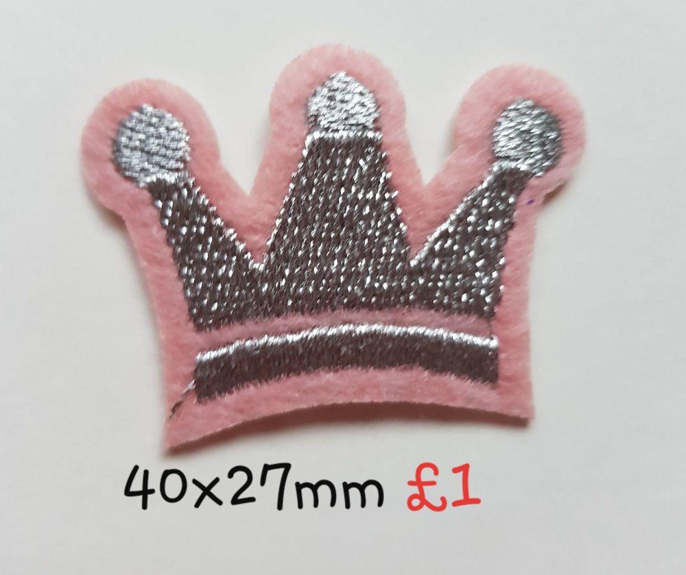 Silver/Pink Crown Motif 40x27mm