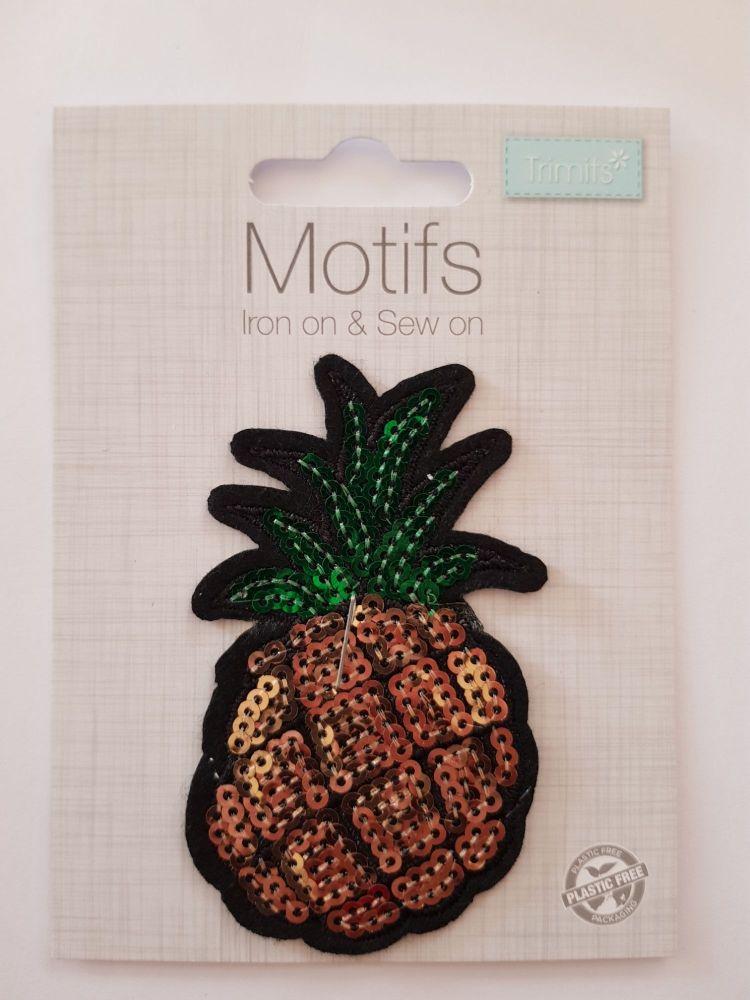Pineapple Sequin Motif 80x50mm