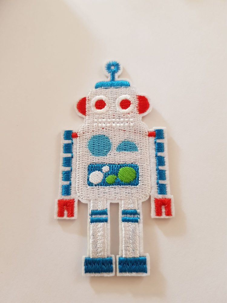 Robot Motif 80x40mm White/Blue