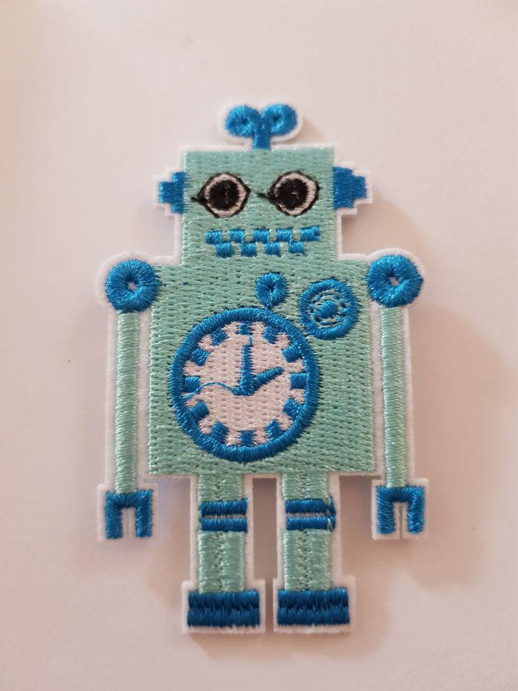 Robot Motif 80x48mm White/Blue