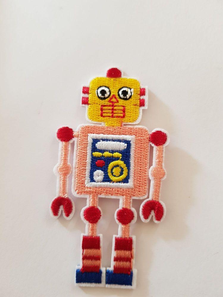 Robot Motif 80x42mm Yellow/ Peach