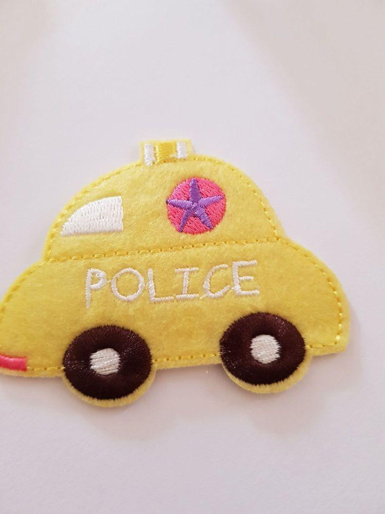 Car (Police) Motif - Yellow 77x60mm
