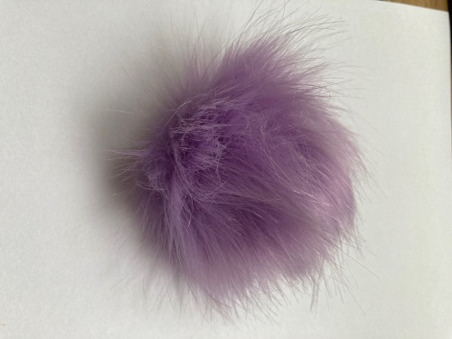 Lilac Fluffy Pom Pom - Suitable for Hats .Elastic  hoop to attach    (Each)
