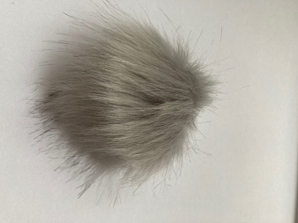 Grey (light) Fluffy Pom Pom - Suitable for Hats .Elastic  hoop to attach