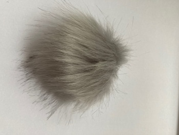 Grey (light) Fluffy Pom Pom - Suitable for Hats .Elastic  hoop to attach    (Each)