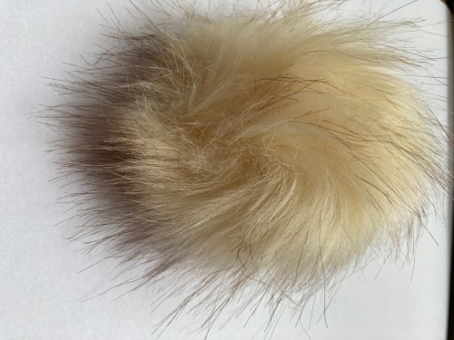 Cream Fluffy Pom Pom -Suitable for Hats .Elastic hoop to attach (Each)