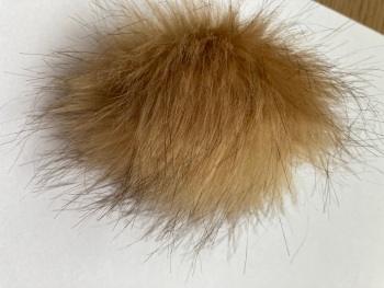 Caramel Fluffy Pom Pom-Suitable for Hats .Elastic hoop to attach (Each)