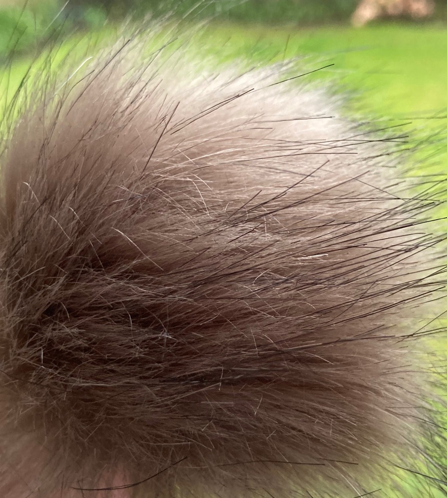 Mink Coloured Fluffy Pom Pom- Suitable for Hats .Elastic hoop to attach (Ea