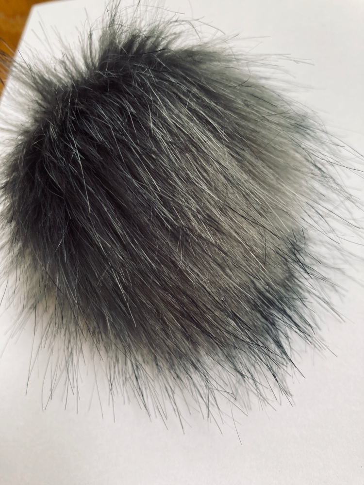 Grey / Black Fluffy Pom Pom -Suitable for Hats  (Each)