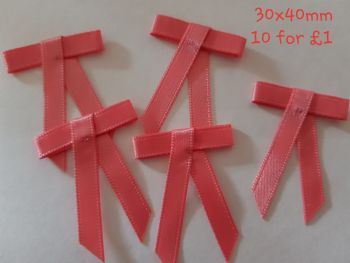Coral Bows 30x40mm (Pack of 10)
