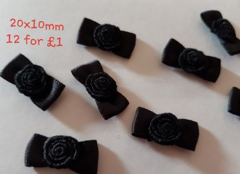 Black, Rose Centre Bows 20x10mm (Pack of 12)