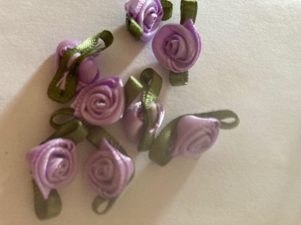 Lilac Ribbon Roses -Small (pack of 8)