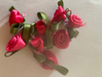 Cerise Ribbon Roses -Small (pack of 12)